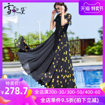 Dress Summer 2020 Black yellow butterfly S M L XL XXL XXXL longuette singleton  Short sleeve commute Crew neck middle-waisted Decor Socket Big swing other Others 30-34 years old Type A Snow Princess Simplicity Zipper print with ruffle and pleat stitching LYQ-19380 More than 95% polyester fiber