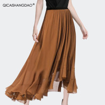 skirt Summer 2021 S M L XL Orange Black longuette Versatile Natural waist A-line skirt Solid color 35-39 years old BC15325-2 More than 95% Chiffon Colorful Shangdao polyester fiber Fold asymmetry Polyester 100% Pure e-commerce (online only)