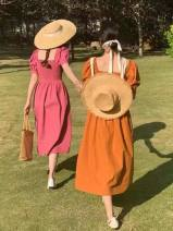 Dress polyester fiber Chiffon Spring 2021 longuette singleton  Short sleeve commute square neck High waist Condom Solid color A-line skirt routine Type A Button One size fits all