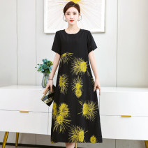 Middle aged and old women's wear Summer 2021 One, two, three, four XL 2XL 3XL 4XL 5XL commute Dress easy Decor 40-49 years old Socket thin Crew neck routine Yftm / yafitiman other Other 100% 96% and above Pure e-commerce (online only) Medium length other Korean version