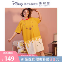 Nightdress Osaka weaving house Strawberry bear - Sweetheart pink Winnie bear - Yuanqi yellow IP joint official authorization department store counter official direct sale S M L lovely Short sleeve Middle-skirt summer Cartoon animation youth Crew neck Summer 2021 Pure e-commerce (online only)