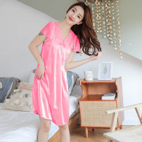 Pajamas / housewear set female Pretty and elegant S M L XL XXL XXXL XXXXL Polyester (polyester) Short sleeve Simplicity pajamas summer Thin money V-neck Solid color Socket youth one-piece garment More than 95% bow 200g and below Polyester 100% Summer of 2019 Pure e-commerce (online only) Middle-skirt