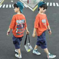 suit extremely 110cm 120cm 130cm 140cm 150cm 160cm male summer leisure time Short sleeve + pants 2 pieces Thin money There are models in the real shooting Socket nothing other children Learning reward Class B Cotton 100% Summer 2021 Chinese Mainland Zhejiang Province Hangzhou