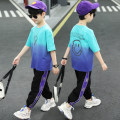suit extremely 110cm 120cm 130cm 140cm 150cm 160cm male summer leisure time Short sleeve + pants 2 pieces Thin money There are models in the real shooting Socket nothing Solid color cotton children Expression of love Class B Other 100% Summer 2021 Chinese Mainland
