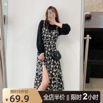 Women's large Summer 2021 Black JH S M L XL 2XL 3XL 4XL Dress Two piece set Sweet easy moderate Socket Long sleeves Broken flowers Crew neck routine puff sleeve three - 15CS0180 - KAY cenzcci 18-24 years old Medium length Polyester 100% Pure e-commerce (online only) solar system