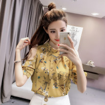 T-shirt White yellow S M L XL 2XL 3XL Summer of 2018 Short sleeve Crew neck easy Regular routine commute other 86% (inclusive) -95% (inclusive) Korean version youth Flower mosaic Stitching open line decorative button hollowed out