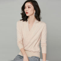 Wool knitwear Autumn 2020 Long sleeve other 31% (inclusive) - 50% (inclusive) singleton  Condom Regular payment routine commute easy V-neck routine Solid color Condom 25-29 years old White, black, apricot S,M,L,XL