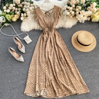 Dress Spring 2020 White, pink, red, black, apricot, green Average size longuette singleton  Sleeveless commute V-neck High waist Dot Socket Irregular skirt Flying sleeve Others 18-24 years old Type A Korean version 31% (inclusive) - 50% (inclusive) Chiffon other