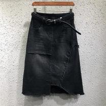 skirt Spring 2021 S,M,L,XL,2XL black Mid length dress Versatile Natural waist A-line skirt Solid color Type A 81% (inclusive) - 90% (inclusive) Denim cotton Pocket, asymmetrical