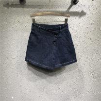 Jeans Spring 2021 navy blue S,M,L,XL shorts High waist Wide legged trousers routine Fold, wash, button Cotton elastic denim Dark color