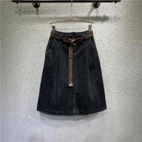 skirt Spring 2021 S,M,L,XL,2XL black Mid length dress Versatile Natural waist A-line skirt Solid color Type A 81% (inclusive) - 90% (inclusive) Denim cotton Pocket, button, zipper