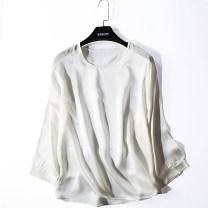 T-shirt L,XL Summer 2021 three quarter sleeve Crew neck easy Regular routine commute silk 96% and above Korean version
