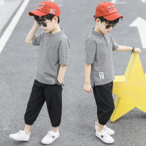 suit Happy bell Black and white coffee 110cm 120cm 130cm 140cm 150cm 160cm male summer leisure time Short sleeve + pants 2 pieces routine There are models in the real shooting Socket nothing lattice other children Learning reward Class B Other 100% Summer of 2019 Chinese Mainland