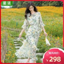 Dress Winter 2020 New green snow white S M L XL longuette singleton  elbow sleeve Sweet Crew neck Elastic waist Broken flowers Socket A-line skirt pagoda sleeve Breast wrapping 25-29 years old Type A Sinor Three dimensional decorative asymmetric lace printing S65652814 More than 95% Chiffon Mori