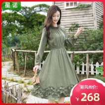 Dress Winter 2020 Sweet Avocado Green snowflake Avocado Green S M L XL Mid length dress singleton  Long sleeves commute Lotus leaf collar High waist Dot zipper Ruffle Skirt Petal sleeve Breast wrapping 25-29 years old Type A Sinor literature Ruffle zipper print S62818748 More than 95% Chiffon