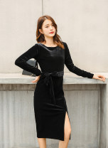Dress Spring 2021 black S,M,L,XL,2XL,3XL Mid length dress singleton  Long sleeves commute Crew neck Loose waist Solid color Socket Pencil skirt routine Others Type H Korean version Bandage 91% (inclusive) - 95% (inclusive) polyester fiber