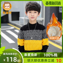 Sweater / sweater 120CM 130CM 140CM 150CM 160CM 170CM cotton male hyz  leisure time There are models in the real shooting Socket Plush Crew neck nothing other Cotton 100% HYXCM9010 Long sleeves Spring 2021 spring and autumn
