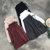 Casual pants Rust red Khaki grey black white SMLXL Summer of 2018 shorts Wide leg pants High waist commute Thin money 18-24 years old 18B18216 Zifana