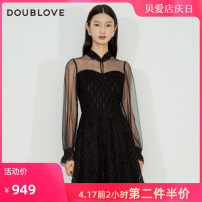 Dress Winter 2020 black 2/S 3/M 4/L 5/XL Middle-skirt singleton  Long sleeves Sweet stand collar middle-waisted Solid color other bishop sleeve Others 25-29 years old Type X DOUBLE LOVE Patchwork lace DFFAA4220A More than 95% other Other 100% Ruili