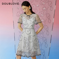 Dress Spring 2021 blue 1/XS 2/S 3/M 4/L 5/XL Middle-skirt singleton  Short sleeve Sweet Crew neck middle-waisted other routine Others 25-29 years old Type X DOUBLE LOVE BOW LACE DPGPA4120B More than 95% nylon Polyamide fiber (nylon) 100% Ruili Same model in shopping mall (sold online and offline)