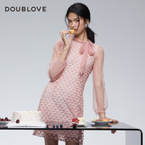 Dress Winter 2020 Pink 1/XS 2/S 3/M 4/L 5/XL Middle-skirt singleton  Long sleeves Sweet other middle-waisted Solid color other routine Others 25-29 years old Type X DOUBLE LOVE Lace DPGPA4114A More than 95% Lace nylon Polyamide fiber (nylon) 100% Ruili