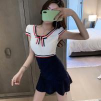 Dress Summer 2021 blue S,M,L,XL Short skirt singleton  Short sleeve Crew neck High waist Solid color zipper Other / other Real shot 9201