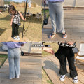 trousers Other / other female 100cm,110cm,120cm,130cm,140cm,150cm Gray, black summer trousers Korean version There are models in the real shooting Leggings Leather belt High waist cotton Don't open the crotch