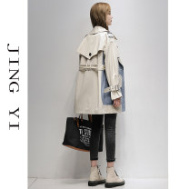 Windbreaker Spring 2021 S M L XL Off white Long sleeves routine Medium length commute double-breasted raglan sleeve Solid color Straight cylinder Korean version Jingyi JY21A0042 96% and above other polyester fiber Other 100% Exclusive payment of tmall