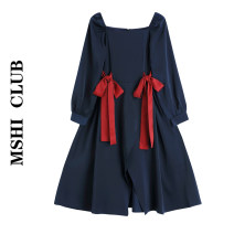 Dress Autumn 2020 : Navy + Red Bow S,M,L Mid length dress singleton  Long sleeves commute square neck High waist Solid color A-line skirt puff sleeve Type A 30% and below other