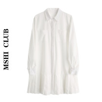 Dress Autumn of 2019 white S,M,L Mid length dress singleton  Long sleeves commute Polo collar High waist Solid color Socket Pleated skirt shirt sleeve Others Type H Korean version 30% and below