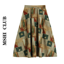 skirt Summer 2021 S,M,L Top, skirt Mid length dress commute High waist A-line skirt other Type A 30% and below other other Retro