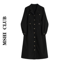 Dress Autumn 2020 Black, check S,M,L Mid length dress singleton  Long sleeves commute tailored collar High waist Solid color Single breasted other routine Others Type A Korean version 30% and below other