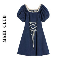 Dress Summer 2020 navy blue S,M,L Short skirt singleton  Short sleeve commute square neck High waist Solid color Socket puff sleeve Type A Frenulum 30% and below other