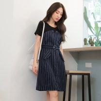 Dress Summer of 2019 Grey, black S,M,L,XL,2L,3L Middle-skirt Fake two pieces Short sleeve commute Crew neck stripe Socket A-line skirt 25-29 years old Type A Orange bear Ol style Splicing DA6845