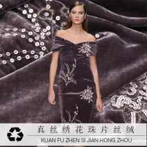 Fabric / fabric / handmade DIY fabric silk 10 pieces of embroidered pearl piece silk cashmere fabric Loose shear piece Plants and flowers printing and dyeing clothing Europe and America Reyes Zhejiang Province Hangzhou Chinese Mainland