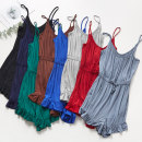 Pajamas / housewear set female dahua home M L XL Royal Blue [suspender jumpers] dark green [suspender jumpers] light hemp grey [suspender jumpers] red [suspender jumpers] Caramel [suspender jumpers] Navy [suspender jumpers] grey blue [suspender jumpers] black [suspender jumpers] viscose  Simplicity