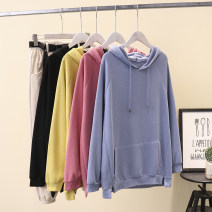 Women's large Spring 2021 Black, blue, yellow, pink Large XL [120-140 kg], large 2XL [140-160 kg], large 3XL [160-180 kg], large 4XL [180-200 kg] Sweater / sweater singleton  commute easy moderate Socket Long sleeves Solid color Korean version Hood Medium length Three dimensional cutting routine