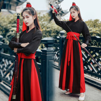 National costume / stage costume Spring of 2019 Red 4-piece set, black 4-piece set, black 5-piece set, red 5-piece set, customized pants 5-piece black and red top set 150cm, 155cm, 160cm, 165cm, 170cm, customized increase contact customer service, children customized contact customer service