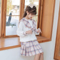 suit Han you Cherry powder two piece set [spot second delivery] sky blue two piece set [spot second delivery] 130cm 140cm 150cm 160cm 170cm 120cm female spring and autumn princess Long sleeve + skirt 2 pieces routine There are models in the real shooting Socket nothing Solid color other children