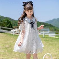 Dress female Han you Other 100% summer leisure time Short sleeve Dark pattern Lace A-line skirt X68A Class B Summer 2020 6 years old, 7 years old, 8 years old, 9 years old, 10 years old, 11 years old, 12 years old, 13 years old and 14 years old White lace dress 120cm 130cm 140cm 150cm 160cm 170cm