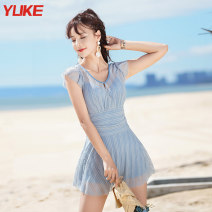 one piece  Yuke L (recommended weight 88-105 kg) XL (recommended weight 105-120 kg) 2XL (recommended weight 120-135 kg) 3XL (recommended weight 135-155 kg) Haze blue bright black powder One piece flat corner swimsuit Steel strap breast pad Spandex others yy_ one thousand nine hundred and thirty-one