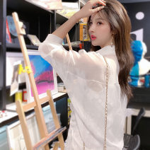 Lace / Chiffon Summer of 2019 White black S M L Long sleeves commute Cardigan singleton  Self cultivation have cash less than that is registered in the accounts stand collar Solid color routine 18-24 years old Beautiful Nida LYQ1973 Lace up stitching Korean version Other 100%