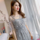 Dress Summer of 2018 Light grey apricot light pink S M L XL Mid length dress Two piece set Short sleeve commute Crew neck Elastic waist Solid color Socket A-line skirt other Others 18-24 years old Type A Beautiful Nida Korean version Three dimensional decoration of embroidery and crochet LYQ119 other