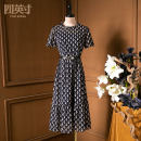 Dress Summer 2021 Black blue S M L XL XXL Mid length dress 35-39 years old Four inches / 4 inches More than 95% polyester fiber Polyester 100%