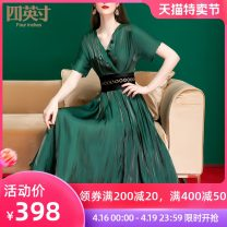 Dress Spring of 2019 Night green Caramel purple S M L XL XXL XXXL longuette singleton  Short sleeve commute V-neck middle-waisted Solid color other A-line skirt other Others 40-49 years old Type A Four inches / 4 inches Retro Fold frenum More than 95% polyester fiber Polyester 100%