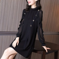 Dress Spring 2021 black S M L XL XXL Middle-skirt singleton  Long sleeves commute stand collar middle-waisted Solid color Socket A-line skirt routine Others 35-39 years old Type A Mlanshiaavenue lady AN21Q010596 More than 95% Chiffon polyester fiber Polyester 100% Pure e-commerce (online only)