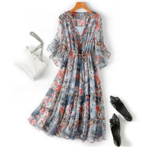 Dress Summer 2020 Picture color M L 2XL Mid length dress singleton  Short sleeve commute V-neck High waist Decor Socket A-line skirt other 25-29 years old 11 degrees of youth lady 11du-19-2206 More than 95% polyester fiber Polyester 100% Pure e-commerce (online only)