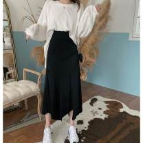 skirt Autumn 2020 Average size White T-shirt, grey skirt, black skirt longuette commute High waist Irregular Solid color Type A 18-24 years old 30% and below other Korean version