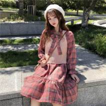 Dress Spring 2020 S,M,L,XL Mid length dress Two piece set Long sleeves commute V-neck Elastic waist lattice Socket Ruffle Skirt puff sleeve 18-24 years old Type A Other / other Korean version