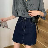 skirt Autumn 2020 S,M,L navy blue Short skirt Retro High waist A-line skirt Solid color Type A 18-24 years old AE1D60070 30% and below other other
